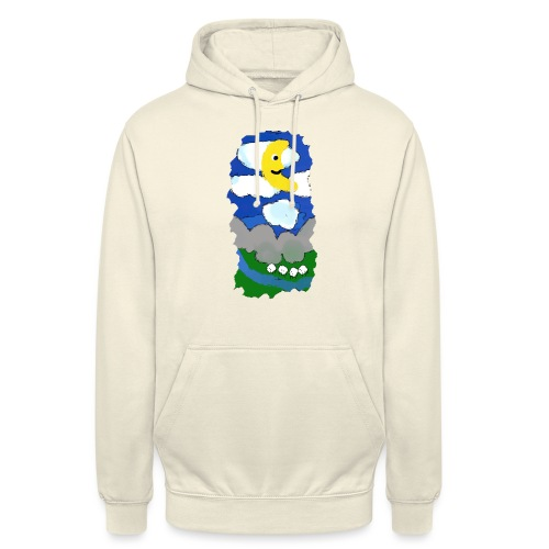 smiling moon and funny sheep - Unisex Hoodie