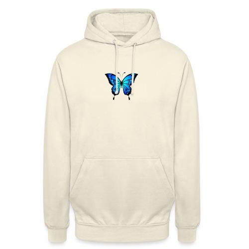 Blå fjäril - Luvtröja unisex