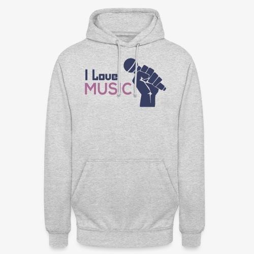 Amo la música - Sudadera con capucha unisex