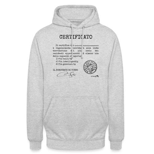 1.07 Certificato Piu Generico (Aggiungi nome) - Felpa con cappuccio unisex
