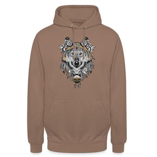 Wolf für Männer, Schrift in Textil/Schwarz - Unisex Hoodie