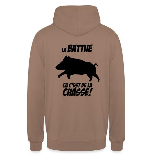 La battue, ça c'est de la chasse (motif sanglier) - Sweat-shirt à capuche unisexe