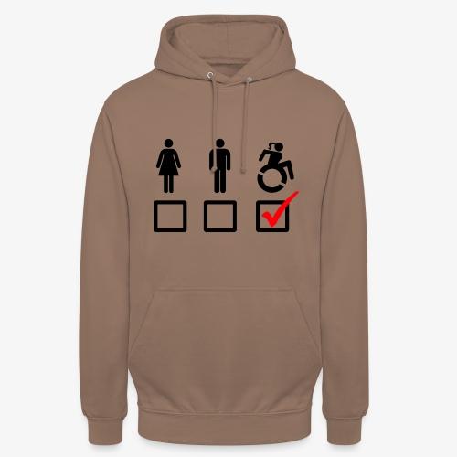 Rolstoel bord, rollers fun, vink rolstoel, humor - Hoodie unisex