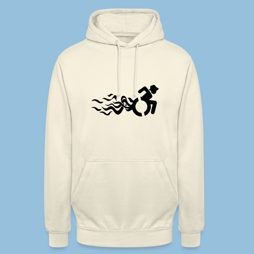 Wheelchair with flames 013 - Hoodie unisex