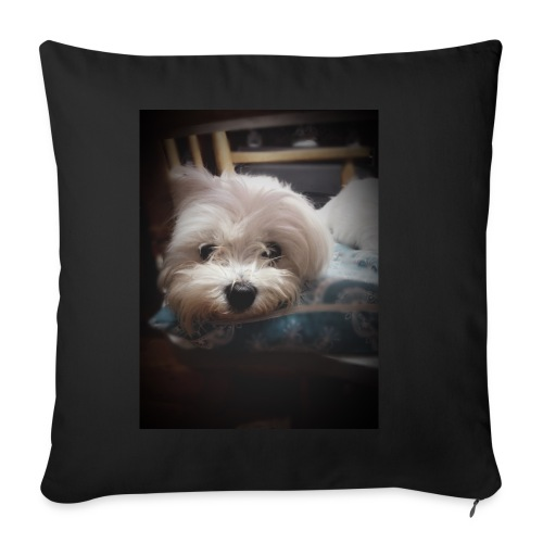 Pure White Pup - Sofa pillow cover 44 x 44 cm