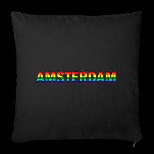 Amsterdam in gay pride rainbow kleuren - Sierkussenhoes, 44 x 44 cm