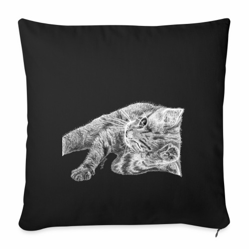 Small kitten in gray pencil - Sofa pillowcase 17,3'' x 17,3'' (45 x 45 cm)