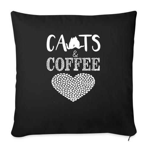 Katzen und Kaffee Liebe Weisse Schrift - Sofakissenbezug 44 x 44 cm