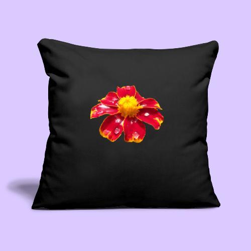 rote Ringelblume mit Regentropfen, Blume, Blüte - Sofakissenbezug 44 x 44 cm