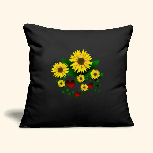 Sonnenblumen, Herzen, Blumen, floral, Herz, Blüten - Sofakissenbezug 44 x 44 cm