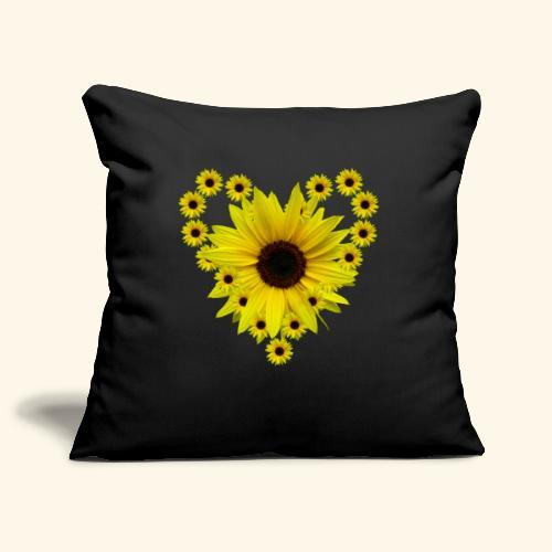Sonnenblumenherz, Sonnenblume, Sonnenblumen, Herz - Sofakissenbezug 44 x 44 cm