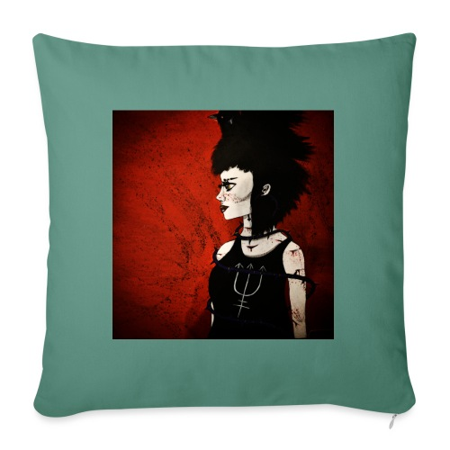 Raven Lady painting - Sofa pillowcase 17,3'' x 17,3'' (45 x 45 cm)