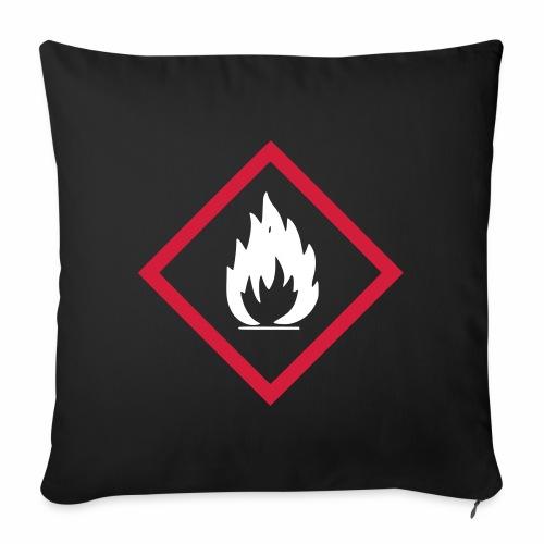 Achtung Brandgefahr / Feuer / leicht entzündlich - Sofakissenbezug 44 x 44 cm