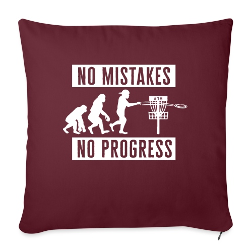 Disc golf - No mistakes, no progress - White - Sohvatyynyn päällinen 45 x 45 cm