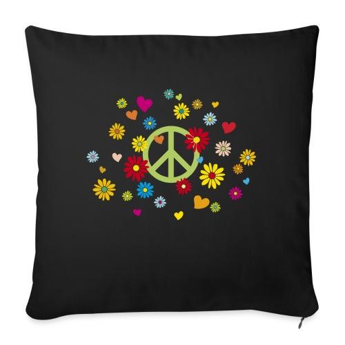 Peacezeichen Blumen Herz flower power Valentinstag - Sofa pillowcase 17,3'' x 17,3'' (45 x 45 cm)