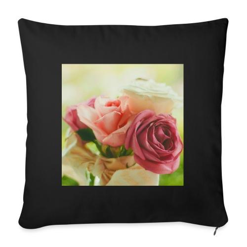 pink roses fl sq jpg - Sofa pillowcase 17,3'' x 17,3'' (45 x 45 cm)