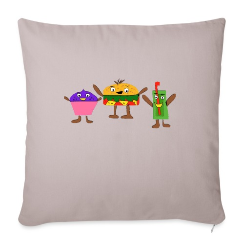 Fast food figures - Sofa pillowcase 17,3'' x 17,3'' (45 x 45 cm)