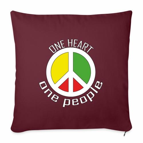 One Heart, One People - Peace - rot, gelb, grün - Sofakissenbezug 44 x 44 cm