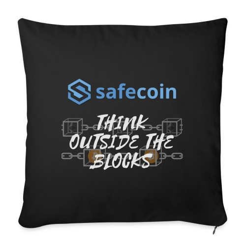 SafeCoin; Think Outside the Blocks (blue + white) - Sofa pillowcase 17,3'' x 17,3'' (45 x 45 cm)