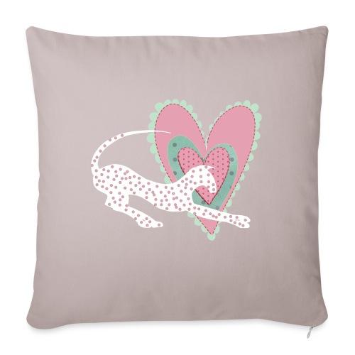 Vit katt rosa hjärta prickar - Soffkuddsöverdrag, 45 x 45 cm