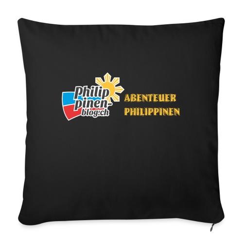 Philippinen-Blog Logo deutsch schwarz/orange - Sofakissenbezug 44 x 44 cm