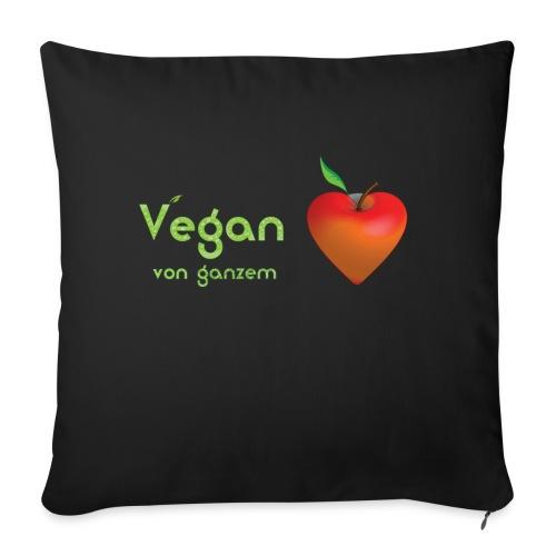 Vegan von ganzem Herzen (rot) - Sofakissenbezug 44 x 44 cm