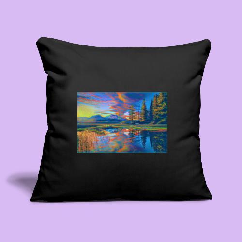 Paesaggio al tramonto con laghetto stilizzato - Copricuscino per divano, 45 x 45 cm