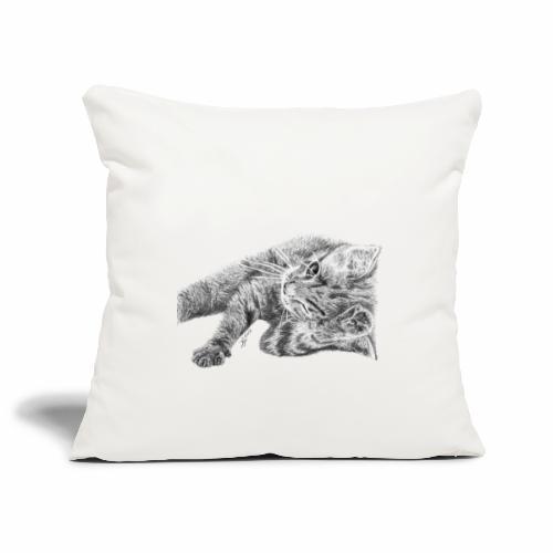 Petit chaton au crayon gris - Housse de coussin décorative 45x 45cm