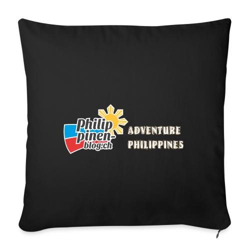 Philippinen-Blog Logo english orange/weiss - Sofakissenbezug 44 x 44 cm