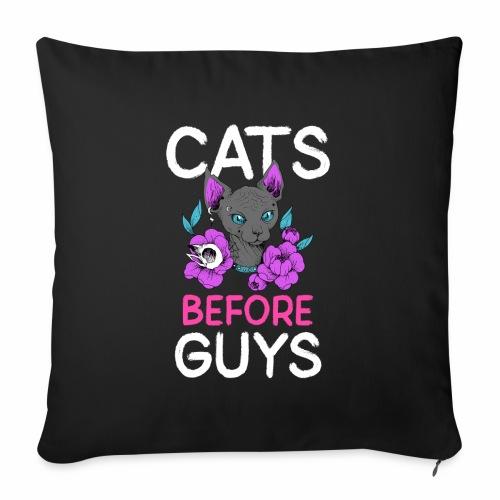 Cats Before Guys Anti Valentinstag Single Spruch - Sofakissenbezug 44 x 44 cm