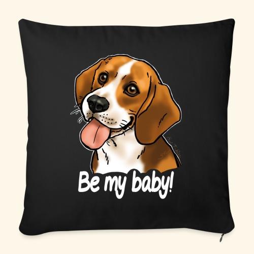 Chien beagle Be my baby (texte blanc) - Housse de coussin décorative 45x 45cm