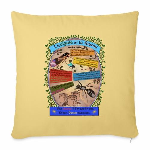 La Cigale et la Fourmi (Jean de la Fontaine) - Housse de coussin décorative 45x 45cm