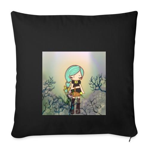 Little forest girl blue hair - Sofa pillowcase 17,3'' x 17,3'' (45 x 45 cm)