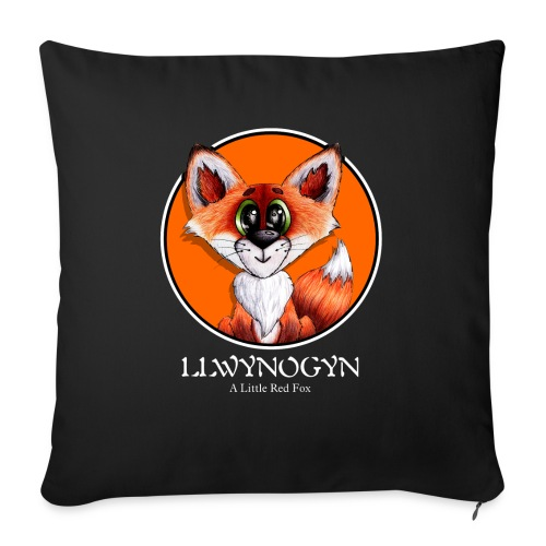 llwynogyn - a little red fox (white) - Pudebetræk 45 x 45 cm