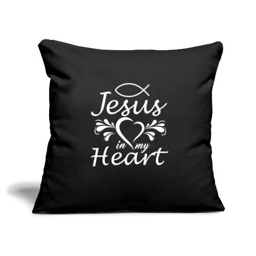 Jesus ist Liebe und in meinem Herz - Sofakissenbezug 44 x 44 cm