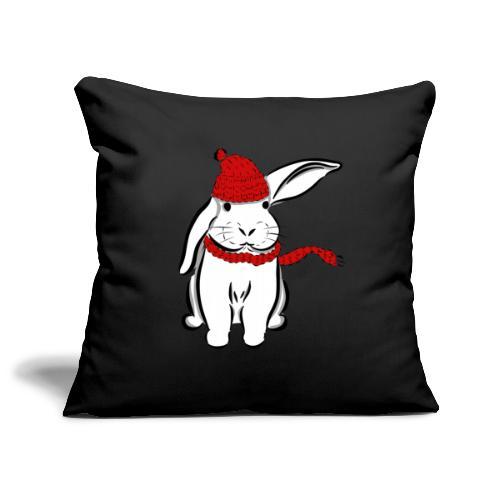 Kaninchen Hase Mütze Schal Schlappohr Schneehase - Sofakissenbezug 44 x 44 cm