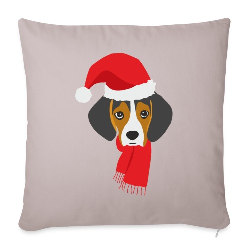 Cachorro de beagle vestido de Papa Noel - Funda de cojín, 45 x 45 cm