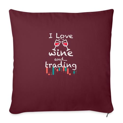 Trader Forex Wallstreet Stock market RedWine Glass - Copricuscino per divano, 45 x 45 cm