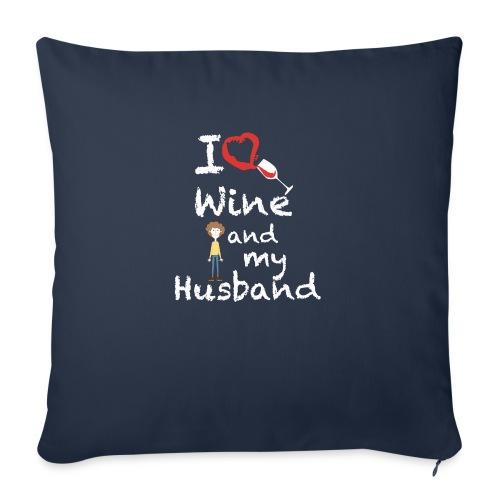 I love Red wine & my Husband Couples Pairs Wedding - Copricuscino per divano, 45 x 45 cm