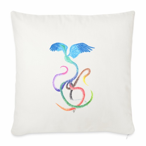 Graceful - Rainbow Bird in Ink - Sofa pillowcase 17,3'' x 17,3'' (45 x 45 cm)