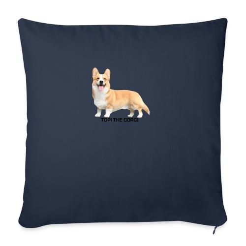 Topi the Corgi - Black text - Sofa pillow cover 44 x 44 cm