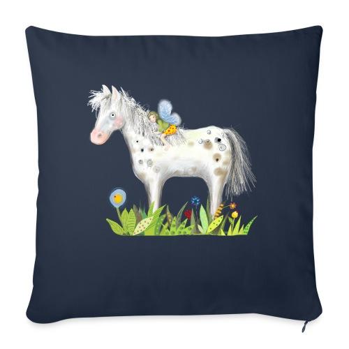 Fee. Das Pferd und die kleine Reiterin. - Sofakissenbezug 44 x 44 cm