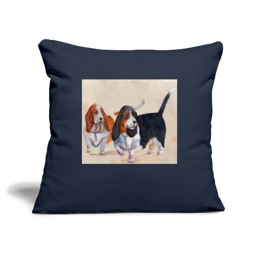 Basset hound_double-trot - Pudebetræk 45 x 45 cm