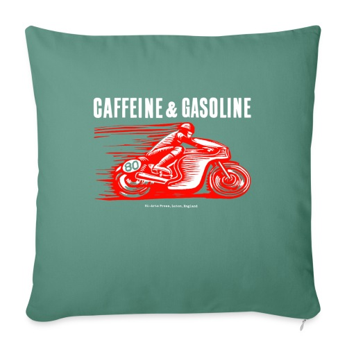 Caffeine & Gasoline white text - Sofa pillowcase 17,3'' x 17,3'' (45 x 45 cm)