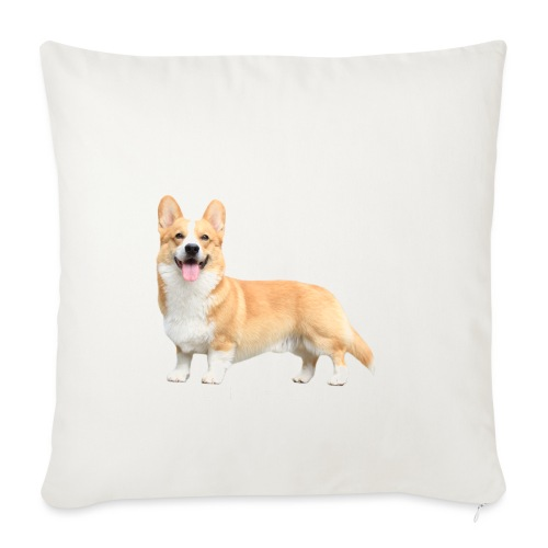 Topi the Corgi - White text - Sofa pillowcase 17,3'' x 17,3'' (45 x 45 cm)