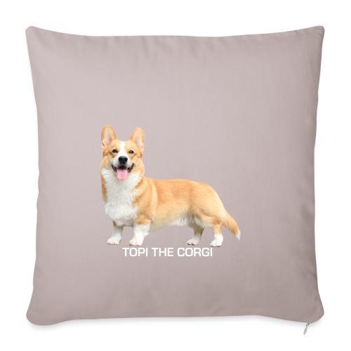 Topi the Corgi - White text - Sofa pillowcase 17,3'' x 17,3'' (45 x 45 cm)