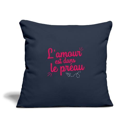 L'amour est dans le préau (lettrage rose et blanc) - Housse de coussin décorative 45x 45cm
