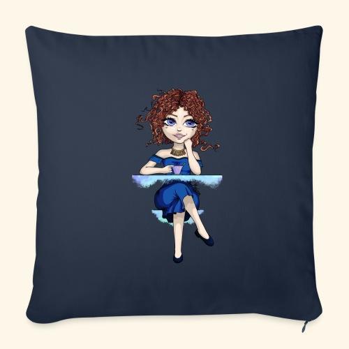 Blue Lady - Housse de coussin décorative 45x 45cm