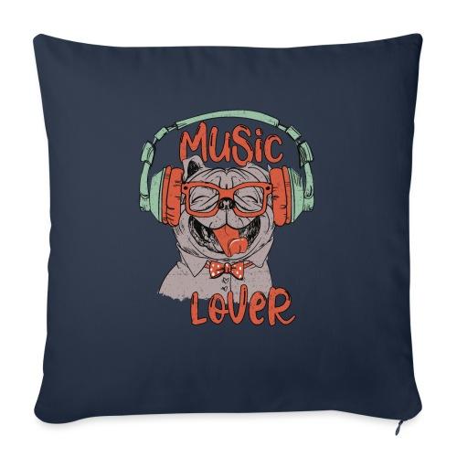 Music Lover - Happy Pug Dog Head Vintage style - Sofa pillowcase 17,3'' x 17,3'' (45 x 45 cm)