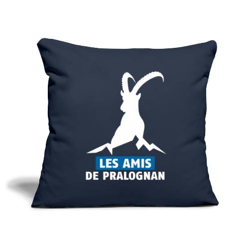 Logo Les Amis de Pralo grand blanc - Housse de coussin décorative 45x 45cm